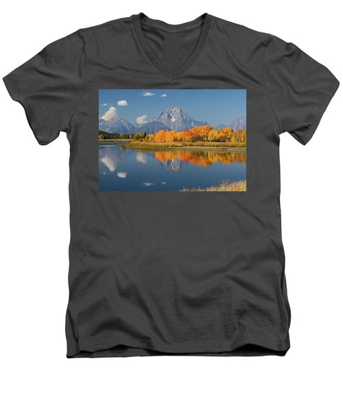 Men's V-Neck T-Shirt featuring the photograph Oxbow Bend Reflection by Wesley Aston