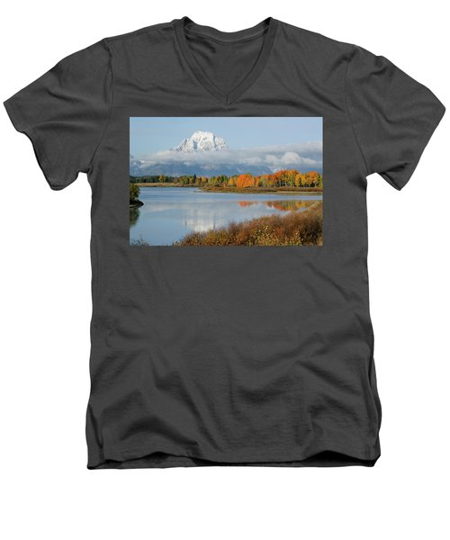 Men's V-Neck T-Shirt featuring the photograph Oxbow Bend  by Wesley Aston