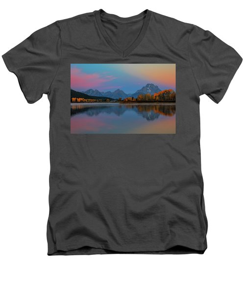 Oxbows Reflections Men's V-Neck T-Shirt by Edgars Erglis