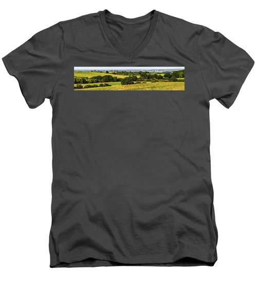 Oxford Spires And Countrysidepanorama Men's V-Neck T-Shirt by Ken Brannen