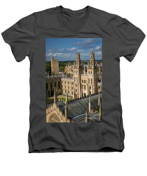 Men's V-Neck T-Shirt featuring the photograph Oxford Spires by Brian Jannsen