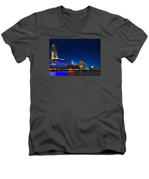 Oxo Tower Star Trails Men's V-Neck T-Shirt by David French
