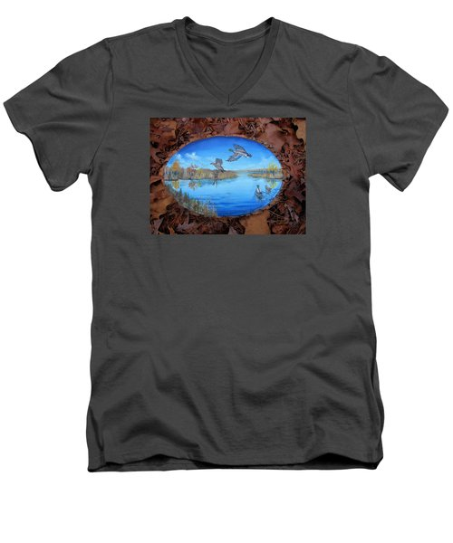 Oyster Creek Flock Men's V-Neck T-Shirt by Kevin F Heuman