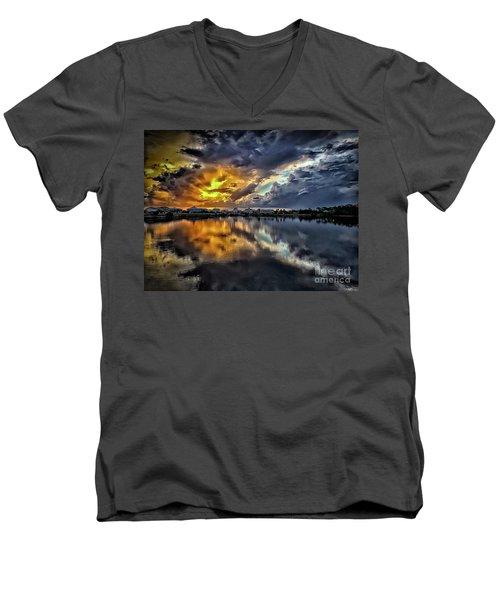 Oyster Lake Sunset Men's V-Neck T-Shirt by Walt Foegelle