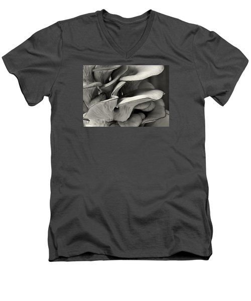 Oyster Mushroom Abstract Lv Men's V-Neck T-Shirt by Shirley Mitchell