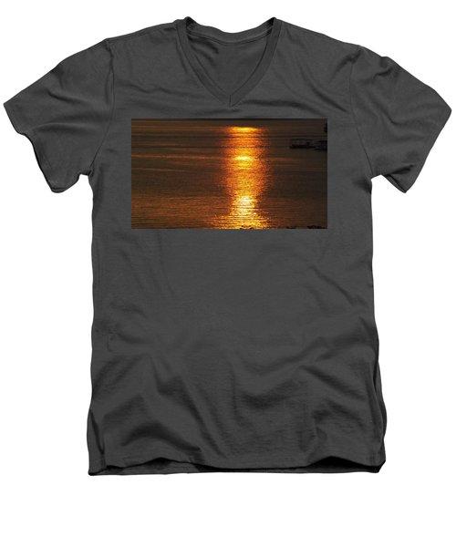 Ozark Lake Sunset Men's V-Neck T-Shirt by Don Koester