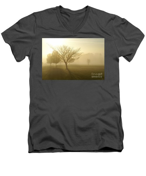 Ozarks Misty Golden Morning Sunrise Men's V-Neck T-Shirt