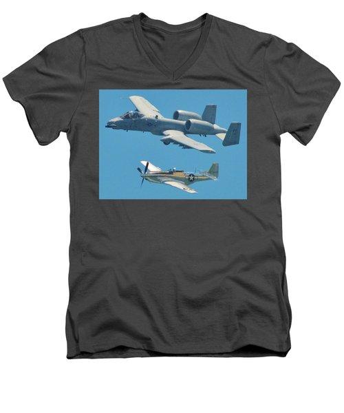 P 51d Mustang And A10 Warthog Tank Killer Men's V-Neck T-Shirt