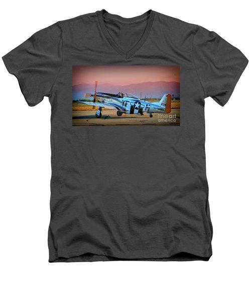 P-51d Mustang 'dakota Kid II. The Long Island Kid' And Casey Odegaard Men's V-Neck T-Shirt