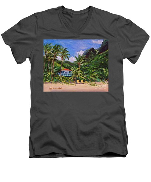 Men's V-Neck T-Shirt featuring the painting P F by Jennifer Beaudet