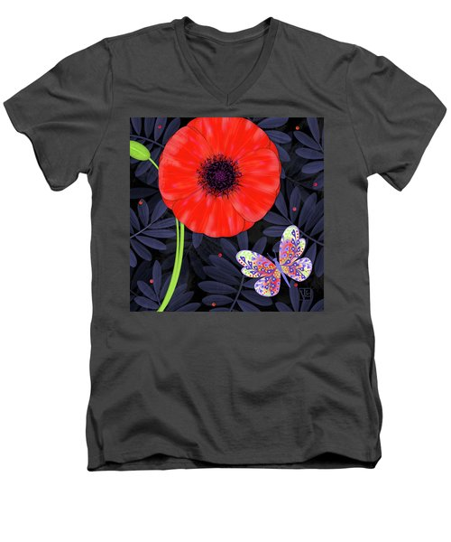 P Is For Pretty Poppy Men's V-Neck T-Shirt