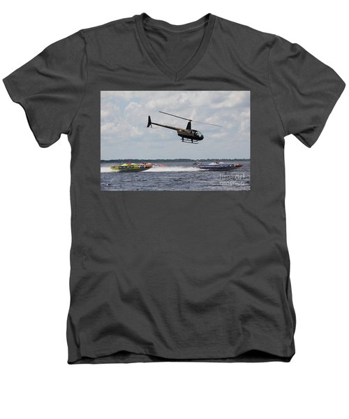 Men's V-Neck T-Shirt featuring the photograph P1 Powerboats by David Grant