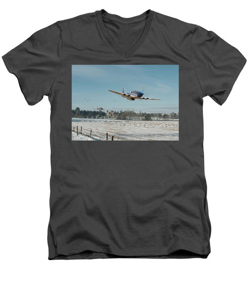 Men's V-Neck T-Shirt featuring the digital art P51 Mustang - Bodney Blue Noses by Pat Speirs