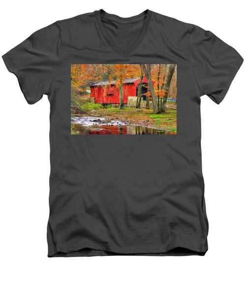 Pa Country Roads- Bartrams / Goshen Covered Bridge Over Crum Creek No.11 Chester / Delaware Counties Men's V-Neck T-Shirt by Michael Mazaika