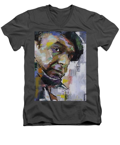 Men's V-Neck T-Shirt featuring the painting Pablo Neruda by Richard Day