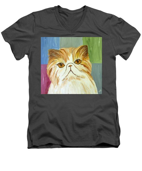 Men's V-Neck T-Shirt featuring the painting Pablo by Victoria Lakes