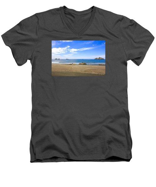 Pacific California Men's V-Neck T-Shirt by Chris Smith