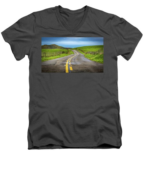 Men's V-Neck T-Shirt featuring the photograph Pacific Coast Road To Tomales Bay by Donnie Whitaker