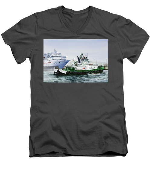 Men's V-Neck T-Shirt featuring the painting Pacific Escort Cruise Ship Assist by James Williamson