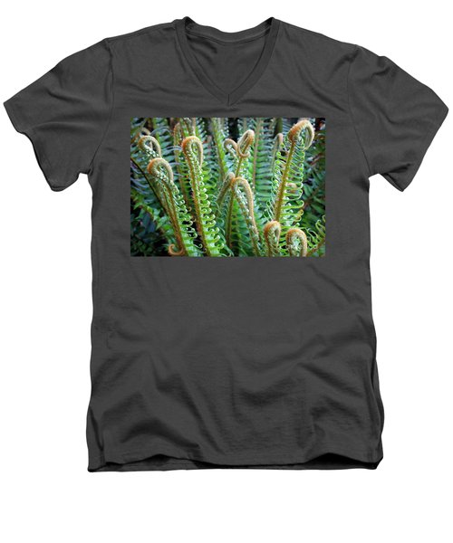 Men's V-Neck T-Shirt featuring the photograph Pacific Ferns by Martin Konopacki