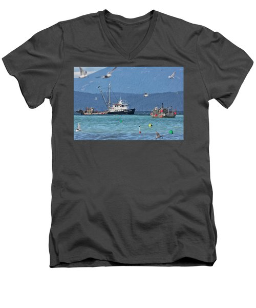 Pacific Ocean Herring Men's V-Neck T-Shirt by Randy Hall