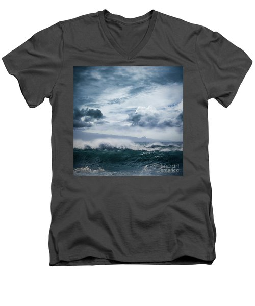 Men's V-Neck T-Shirt featuring the photograph He Inoa Wehi No Hookipa  Pacific Ocean Stormy Sea by Sharon Mau