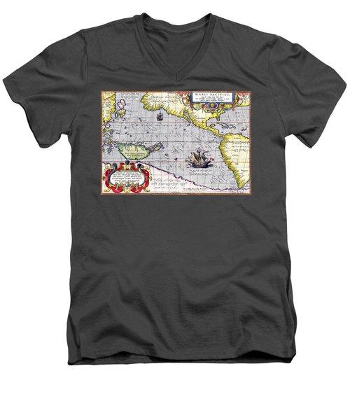 Pacific Ocean Vintage Map Men's V-Neck T-Shirt