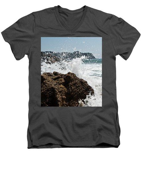 Pacific Splash Men's V-Neck T-Shirt by Yurix Sardinelly