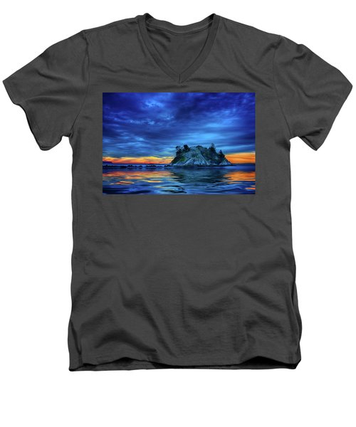 Men's V-Neck T-Shirt featuring the photograph Pacific Sunset by John Poon