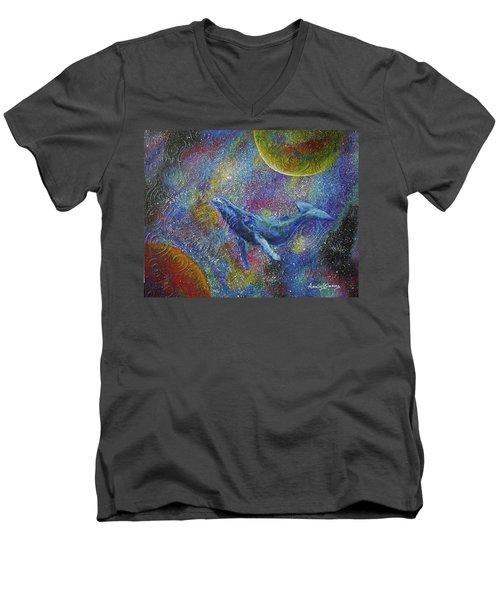 Pacific Whale In Space Men's V-Neck T-Shirt