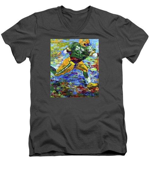 Paeddie Lacy Running For Td  Men's V-Neck T-Shirt