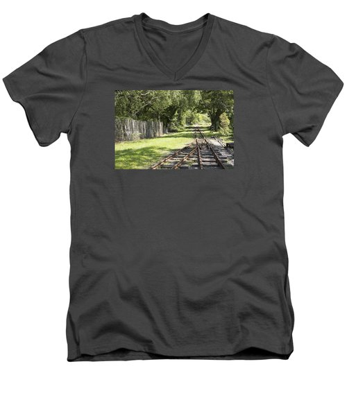 Men's V-Neck T-Shirt featuring the photograph Padarn Lake Railway by Christopher Rowlands