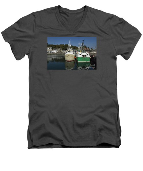 Padstow Fishing Boats Men's V-Neck T-Shirt by Brian Roscorla
