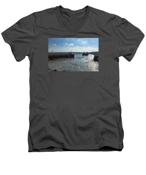 Padstow Harbour Men's V-Neck T-Shirt by Brian Roscorla