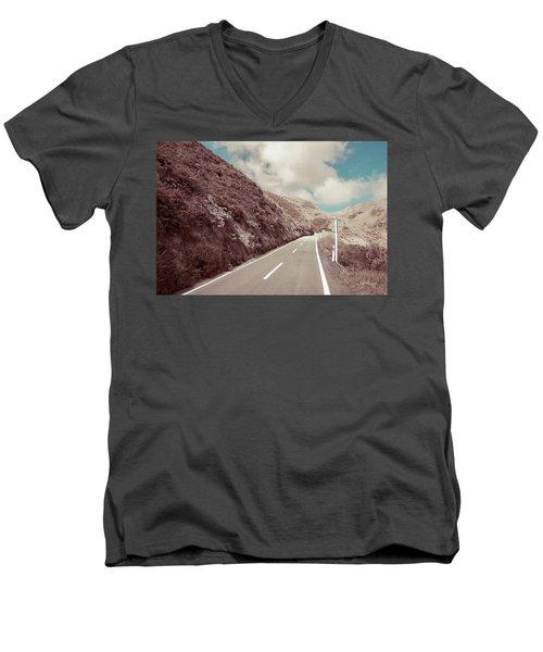 Men's V-Neck T-Shirt featuring the photograph Paekakariki Hill Road by Joseph Westrupp