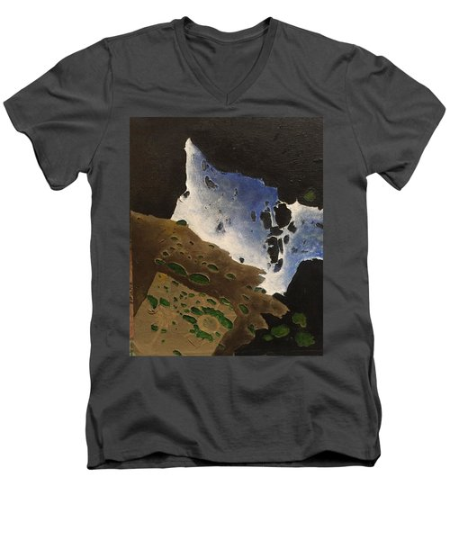 Men's V-Neck T-Shirt featuring the mixed media Pages by Steve  Hester