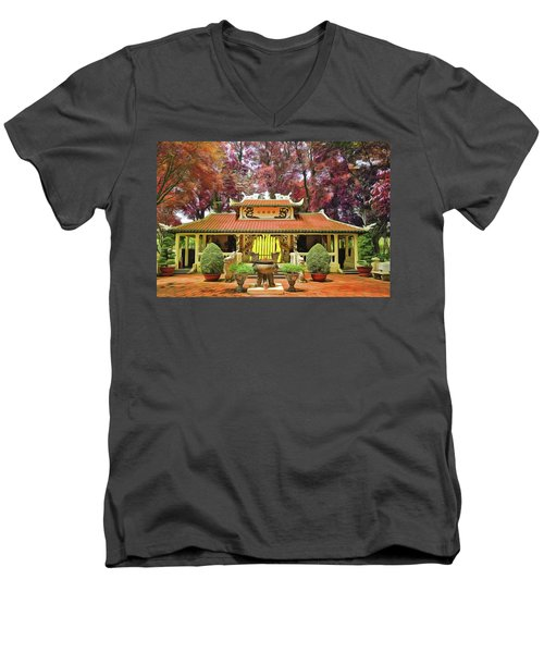 Men's V-Neck T-Shirt featuring the painting Pagoda by Harry Warrick
