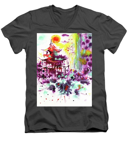 Men's V-Neck T-Shirt featuring the painting Pagoda by Zaira Dzhaubaeva