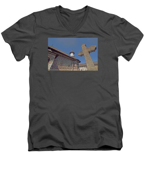 Painted Bucovina Monastery Men's V-Neck T-Shirt by Dennis Cox WorldViews