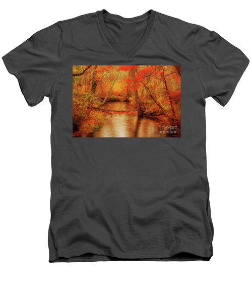 Painted Fall Men's V-Neck T-Shirt by Geraldine DeBoer