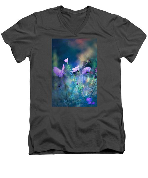 Men's V-Neck T-Shirt featuring the photograph Painted Flowers by John Rivera