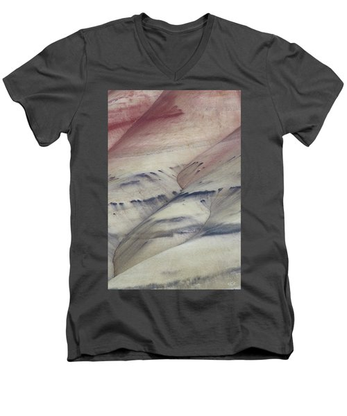 Men's V-Neck T-Shirt featuring the photograph Painted Hills Textures 2 by Leland D Howard