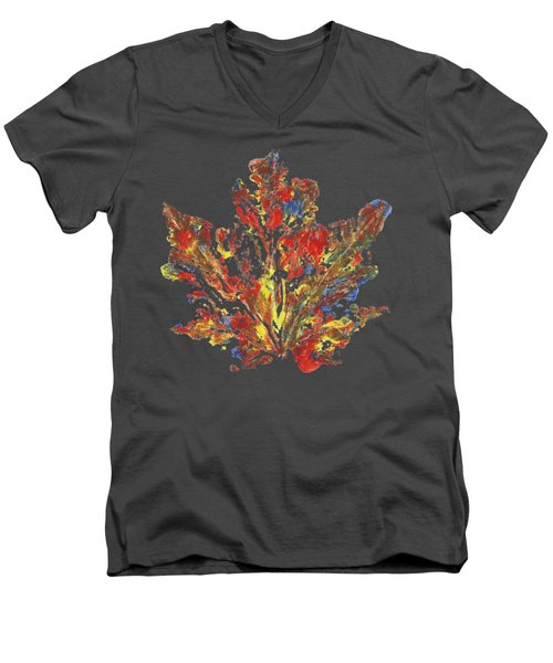 Men's V-Neck T-Shirt featuring the painting Painted Nature 1 by Sami Tiainen