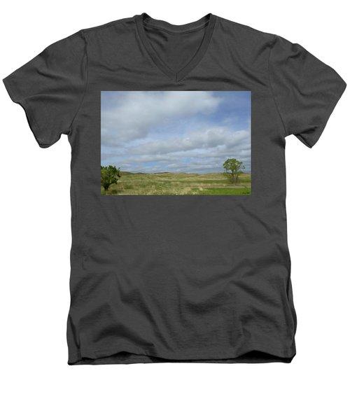 Painted Plains Men's V-Neck T-Shirt by JoAnn Lense