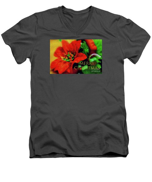 Painted Poinsettia Merry Christmas Men's V-Neck T-Shirt by Sandy Moulder