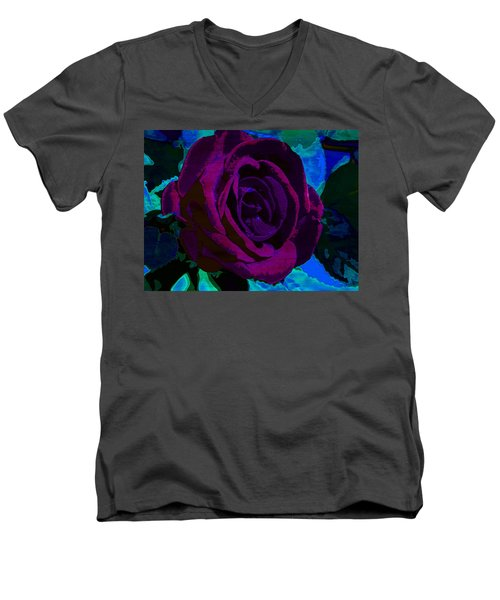 Painted Rose Men's V-Neck T-Shirt by Samantha Thome