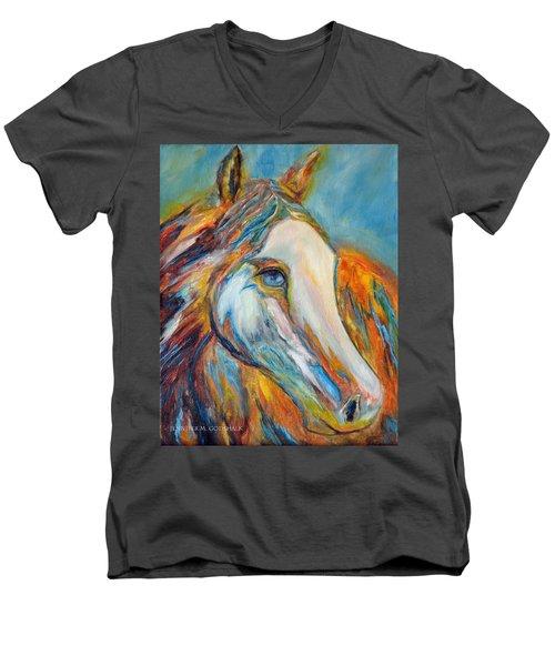 Painted Horse Sensation Men's V-Neck T-Shirt by Jennifer Godshalk