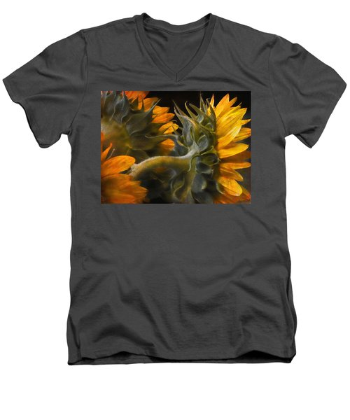 Men's V-Neck T-Shirt featuring the photograph Painted Sun Flowers by John Rivera