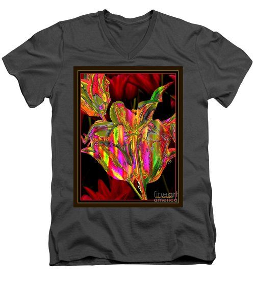 Painted Tulips Men's V-Neck T-Shirt by Irma BACKELANT GALLERIES