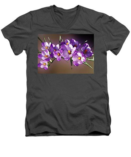 Men's V-Neck T-Shirt featuring the photograph Painted Violets by John Haldane